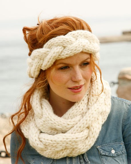 повязка и шарф коса спицами