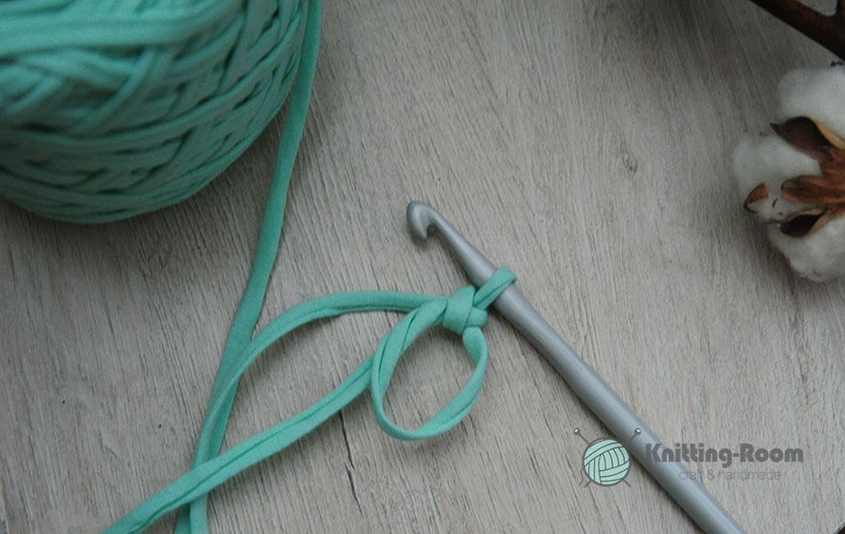 интерьерная корзина из трикотажной пряжи крючком