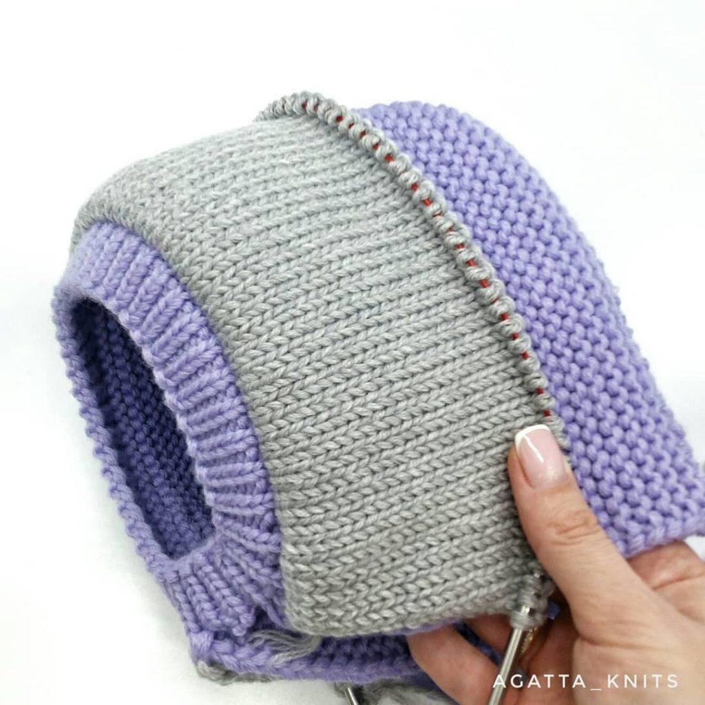 детский шлем спицами с подкладом мастер-класс