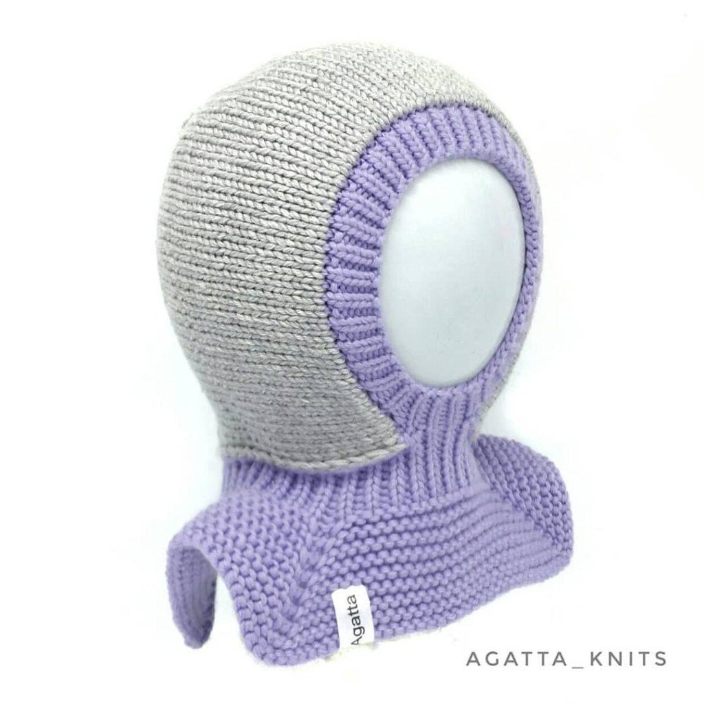 детский шлем спицами с подкладом